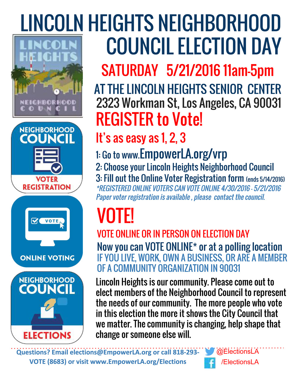 Elections flyer with time